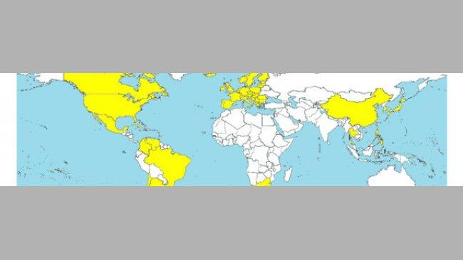 Länder, in denen PCV2-SD diagnostiziert wurde (gelb markiert).