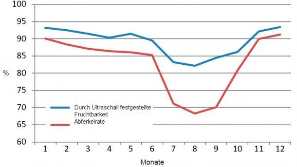 Monatliche Ergebnisse der per Ultraschall festgestellten Fruchtbarkeit und der Abferkelrate von 2015