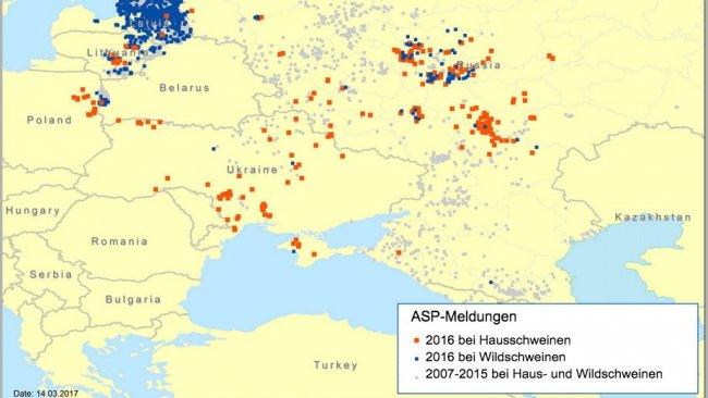 ASP-Meldungen in Osteuropa zwischen 2007 und 2016