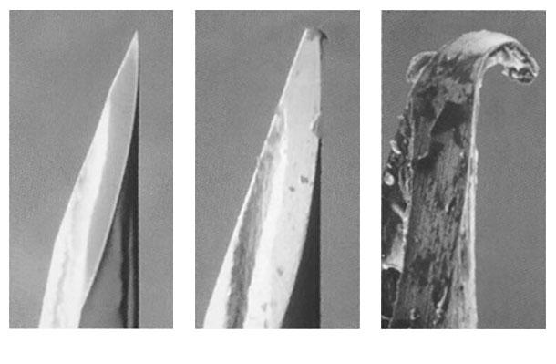 Abbildung1: Anhand der Hypodermienadel zeigt sich, wie schnell sich Kanülen abnützen undstumpf oder an der Spitze beschädigt oder verbogen werden.
