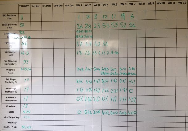 Abbildung 10: Wöchentliche Leistung des Betriebs bis Februar 2018