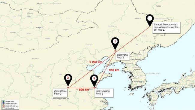 Lagekarte der ASP-Ausbrüche in China
