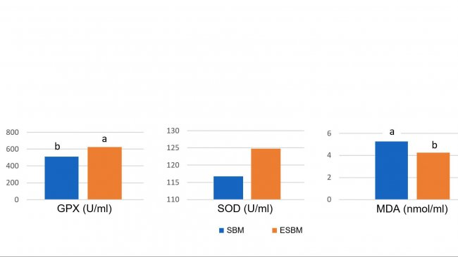 Die Fütterung enzymatisch behandelter Soja mit niedrigem Sojaantigengehalt führte am Tag 14 nach dem Absetzen zu höheren Plasmakonzentrationen von antioxidativen Enzymen und niedrigerem Malondialdehyd (MDA), einem Marker für oxidative Schäden, im Vergleich zur Fütterung von Sojaschrot mit einem höheren Antigengehalt (Ma et al., 2018).