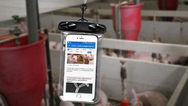 Handy in einer wasserdichten Schutzhülle