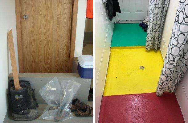 Links: Trennung von Bereichen innerhalb eines Betriebs: Die kleine Wand erinnert die Arbeiter an den Ort zum obligatorischen Schuhwechsel zwischen dem Eingang des Betriebs (schmutzig) und dem Duschbereich (Bild mit freundlicher Genehmigung von Dr. Tim Snider). Rechts: Beispiel der Trennung von Bereichen im Duschraum: Rot = schmutzige Zone; Gelb = Zwischenzone; Grün = saubere Zone (Bild mit freundlicher Genehmigung von Mike Luyks, Kaslo Bay, PIC Boar Stud, Kanada).